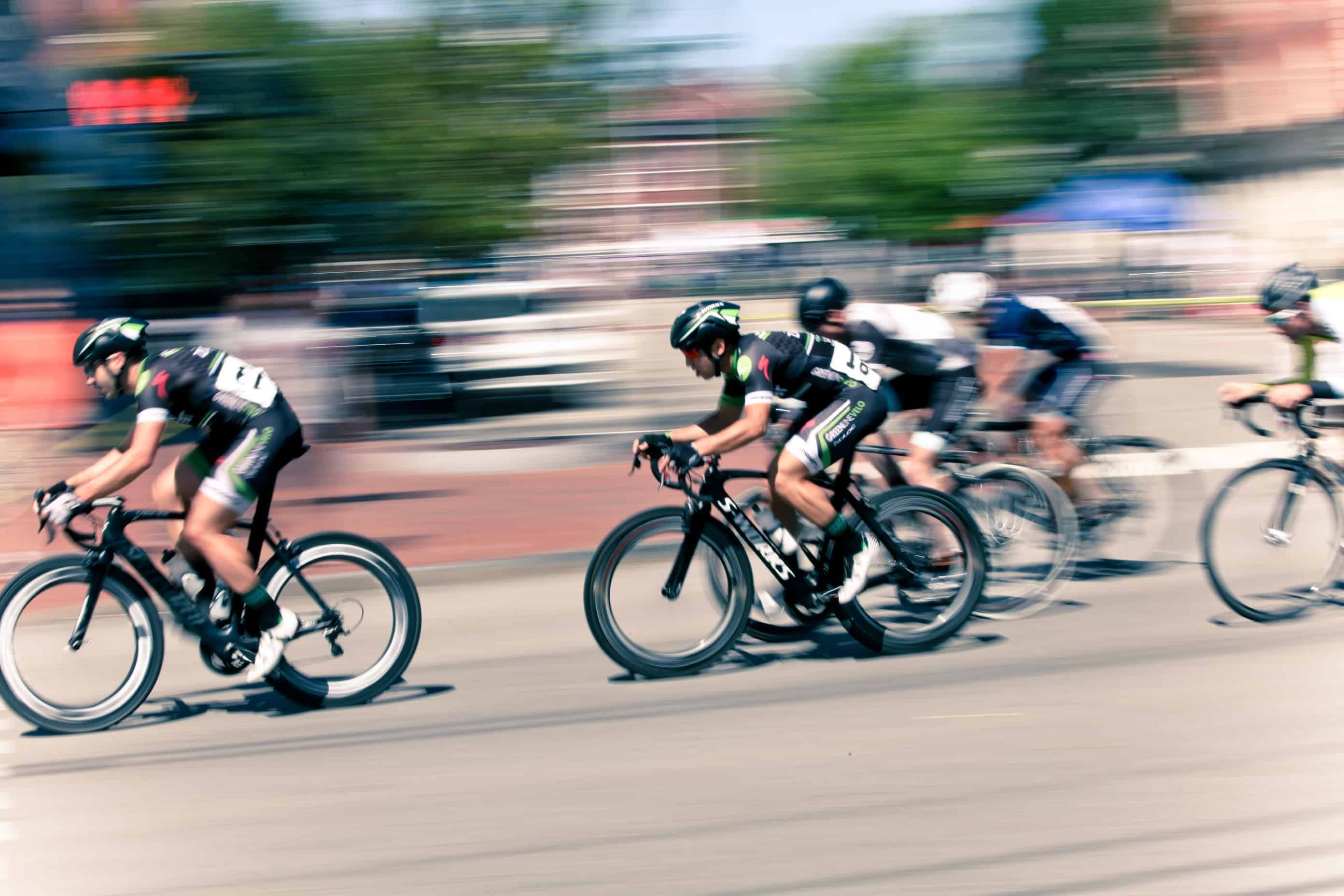 People in a bicycle race