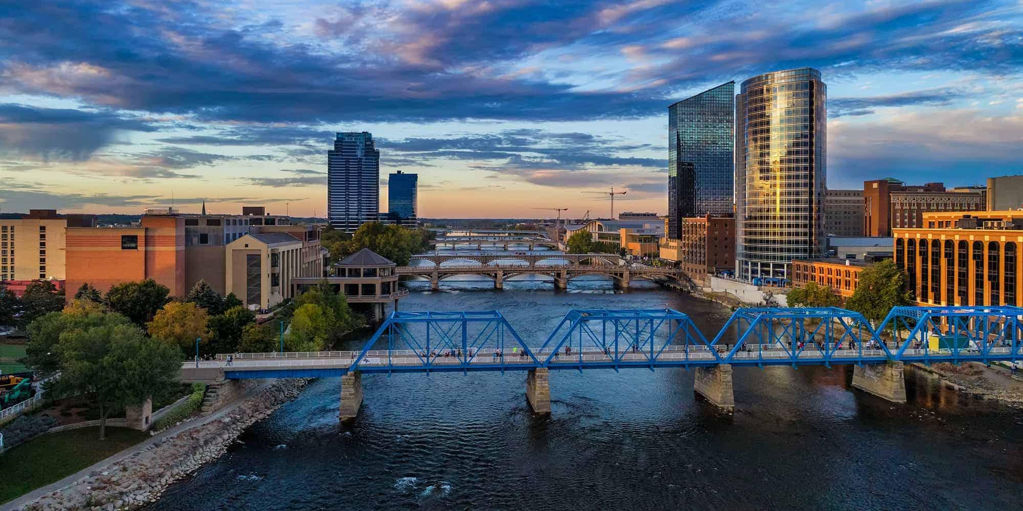 Blue Bridge over a river in Grand Rapids