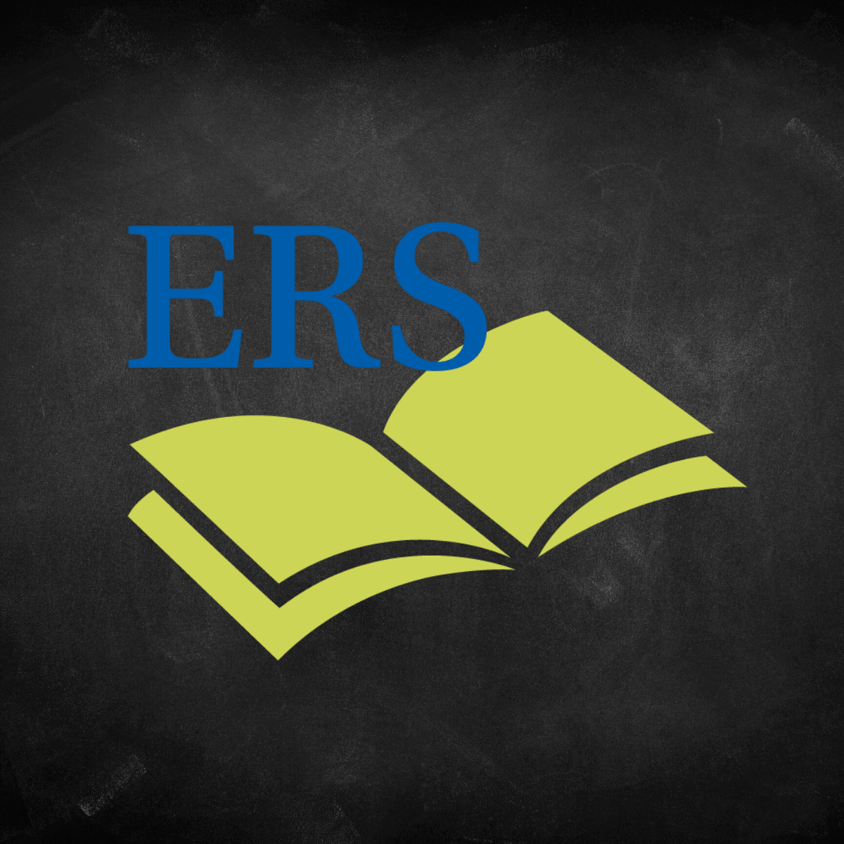 Logo that says ERS in blue text with a green book