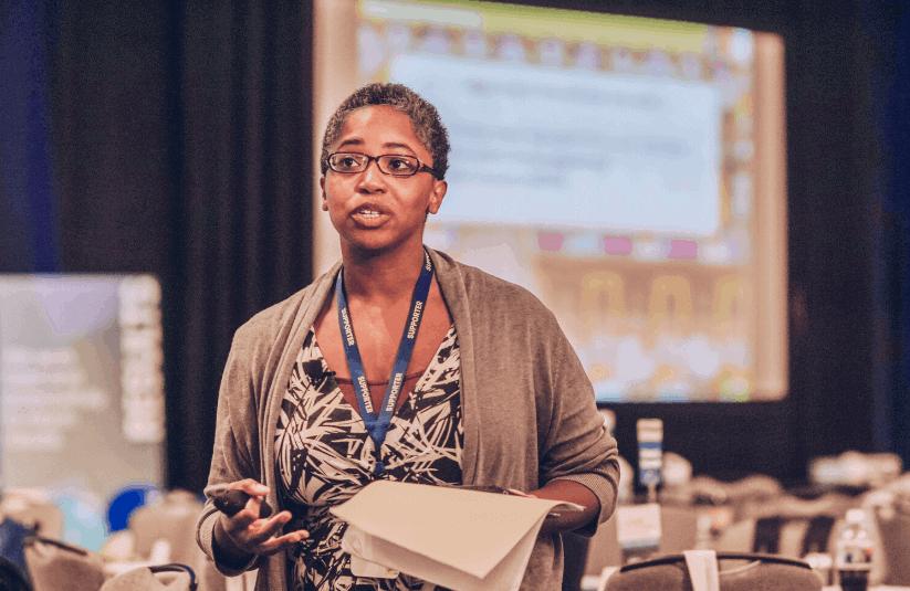 Michelle Brown facilitates a session at Leading Educators Institute