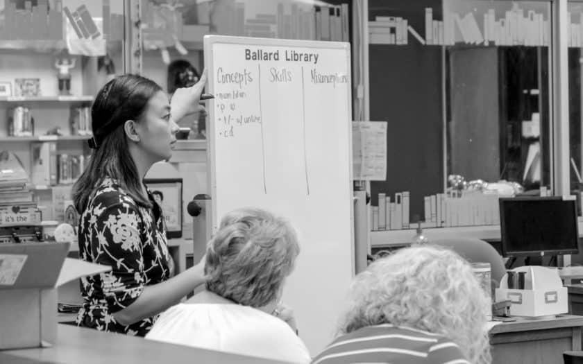 Araceli Flores leads a workshop at Ballard Library in Kentucky