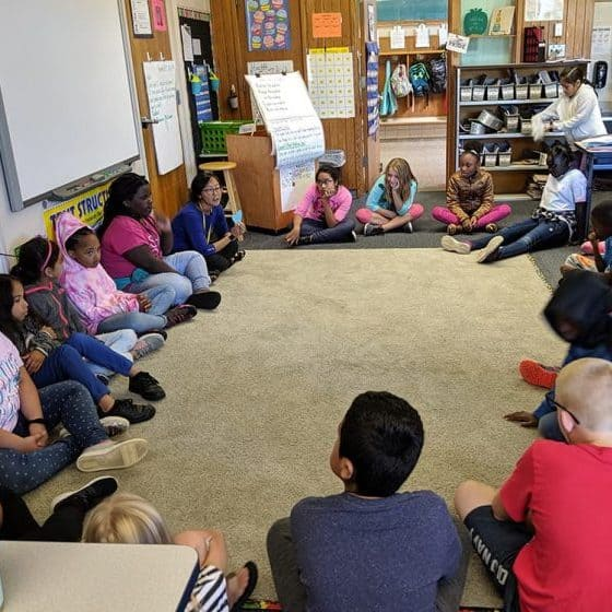 Kelly Compher holds a morning meeting in her fourth grade classroom at North Godwin Elementary