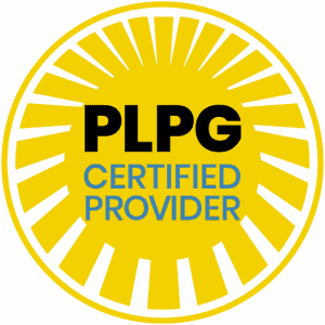 yellow badge with text PLPG certified provider