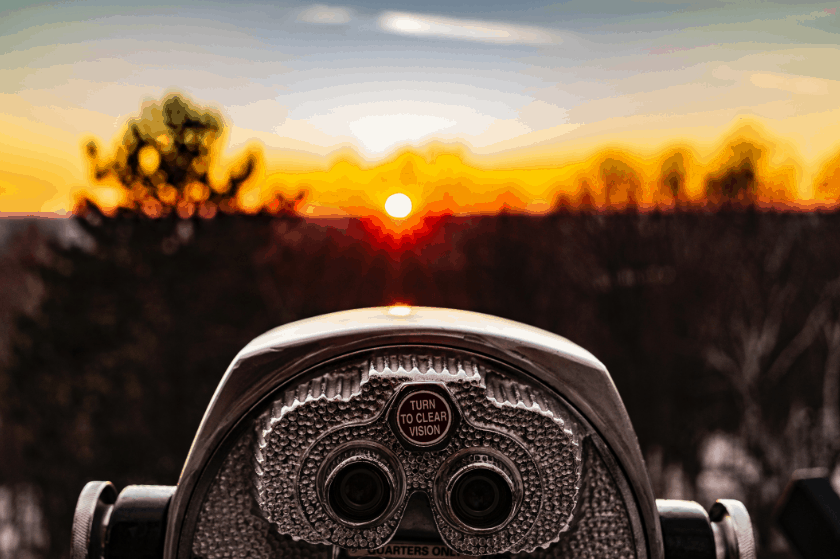 binoculars looking out over a landscape