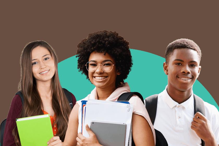 Three diverse students look hopefully